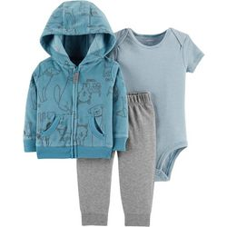 Carters Baby Boys 3-pc. Dog Sketch Hoodie Bodysuit Set