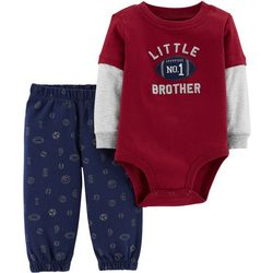 Carters Baby Boys No.1 Little Brother Bodysuit Set