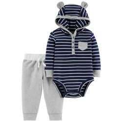 Carters Baby Boys Striped Hooded Bodysuit Set