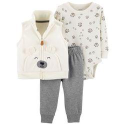 Carters Baby Boys 3-pc. Bear Paws Vest Bodysuit Set
