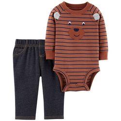 Carters Baby Boys Striped Bear Bodysuit Set