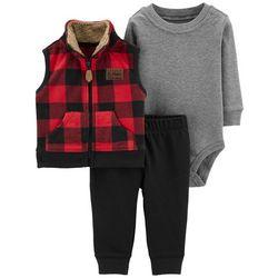 Carters Baby Boys 3-pc. Plaid Fleece Vest Bodysuit Set