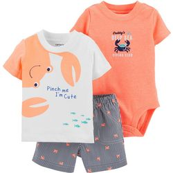 Carters Baby Boys 3-pc. Crab Shorts Set