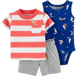 Carters Baby Boys 3-pc. Striped Pelican Shorts Set