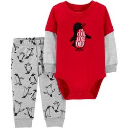 Carters Baby Boys I'm Cool Like Dad Penguin Bodysuit Set