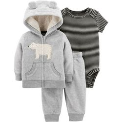 Carters Baby Boys 3-pc. Polar Bear Hoodie Bodysuit Set