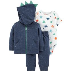 Carters Baby Boys 3-pc. Monster Spike Hoodie Bodysuit Set