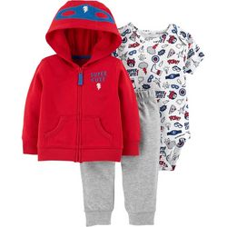Carters Baby Boys 3-pc. Super Cute Hero Hoodie Bodysuit Set