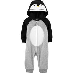 Carters Baby Boys Penguin Fleece Hooded Jumpsuit