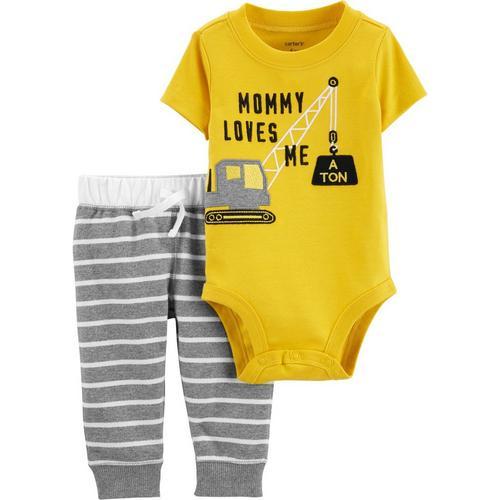 df1ced95af9a Carters Baby Boys Mommy Loves Me A Ton Bodysuit Set