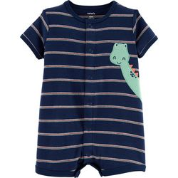 Carters Baby Boys Striped Dinosaur Romper