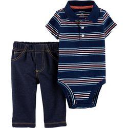 Carters Baby Boys Striped Polo Bodysuit Set