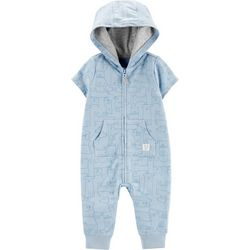 Carters Baby Boys Dog Print Hooded Romper