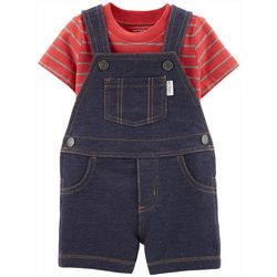 Carters Baby Boys Striped Denim Shortalls Set