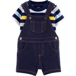 Carters Baby Boys Striped Shortalls Set