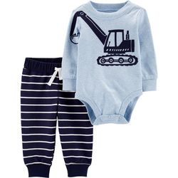 Carters Baby Boys Striped Digger Bodysuit Set