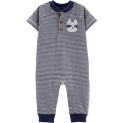 Carters Baby Boys Striped Panda Pocket Romper