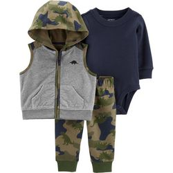 Carters Baby Boys 3-pc. Camo Dinosaur Jacket Clothing Set