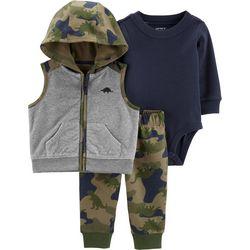 Carters Baby Boys 3-pc. Camo Dinosaur Jacket Clothing