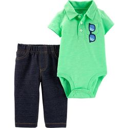 Carters Baby Boys Sunglasses Polo Bodysuit Set