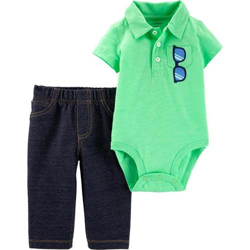 96404d69f Carters Baby Boys Sunglasses Polo Bodysuit Set