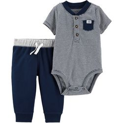 Carters Baby Boys Striped Henley Bodysuit Set