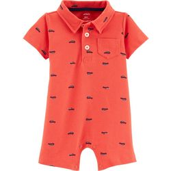 Carters Baby Boys Car Print Polo Romper