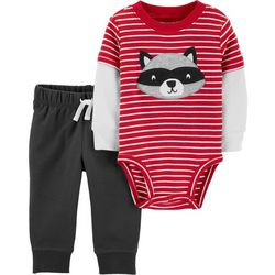 Carters Baby Boys Striped Raccoon Bodysuit Set