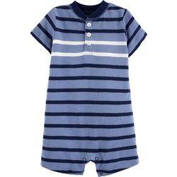 Carters Baby Boys Stripe Print Henley Romper