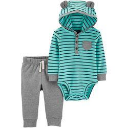 Carters Baby Boys Striped Bear Hoodie Bodysuit Set