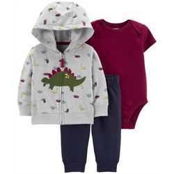 Carters Baby Boys 3-pc. Dinosaur Hoodie & Bodysuit Set