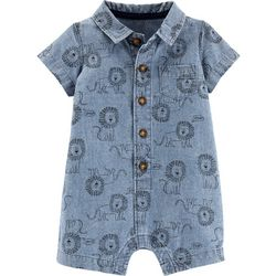 Carters Baby Boys Lion Print Chambray Romper