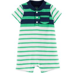 Carters Baby Boys Striped Henley Romper