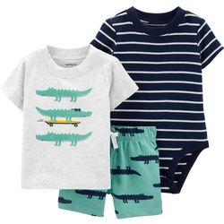 Carters Baby Boys 3-pc. Stripe Alligator Layette Set