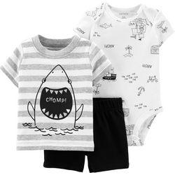 Carters Baby Boys 3-pc. Shark Chomp Stripe Layette Set
