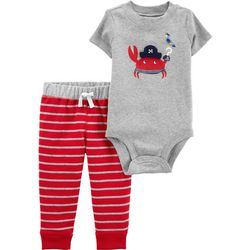 Carters Baby Boys Stripe Pirate Crab Bodysuit Set