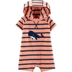 Carters Baby Boys Striped Whale Hooded Romper