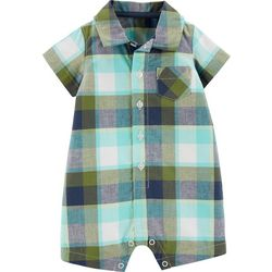 Carters Baby Boys Plaid Button Front Pocket Romper