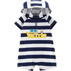Carters Baby Boys Stripe Boat Hooded Romper