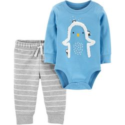 Carters Baby Boys Penguin Striped Bodysuit Set