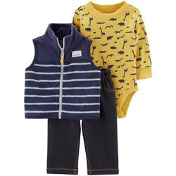 Carters Baby Boys 3-pc. Dinosaur Striped Vest Layette