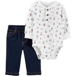 Carters Baby Boys Woodland Christmas Bodysuit Set