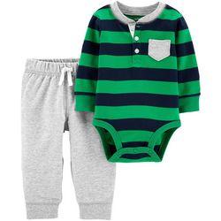Carters Baby Boys Striped Chest Pocket Bodysuit Set