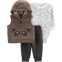 Carters Baby Boys 3-pc. Raccoon Vest Layette Set