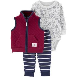 Carters Baby Boys 3-pc. Sports Quilted Vest Layette Set