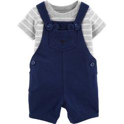 Carters Baby Boys Stripe Bear Shortalls Set