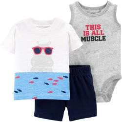 Carters Baby Boys 3-pc. This Is All Muscle Hippo Layette Set