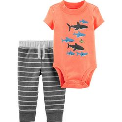 Carters Baby Boys Stripe Sharks Bodysuit Set