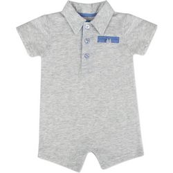 Baby Essentials Baby Boys Heathered Polo Romper