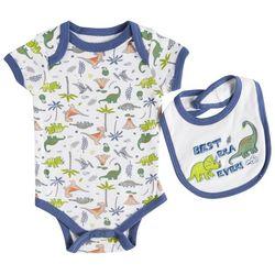 Weeplay Baby Boys Best Era Ever Dino Bodysuit & Bib Set